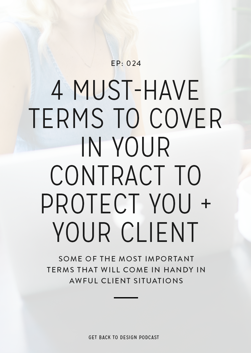 If you're a creative and you work directly with people, then you need a contract. Even if you're just covering yourself and making sure that you get paid for those all of those hours that you put into that project. Today we're cover the 4 most important terms to have in your contract to protect you and your clients.